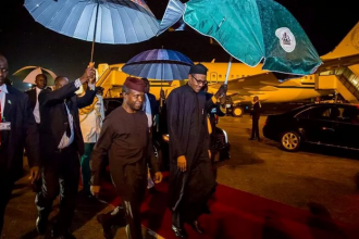 [PHOTO NEWS] Buhari returns to Abuja,welcomed by VP Osinbajo