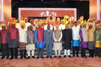 [PHOTO NEWS] #Mugabe standing Out as #African leaders don Indian attire at PM reception