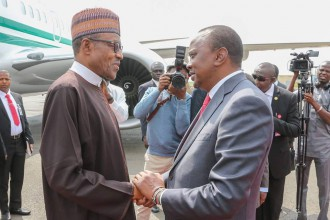 [PHOTO NEWS] President Buhari arrives in Kenya;welcomed by Kenyatta