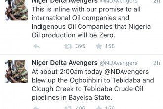 [BREAKING] Niger Delta Avengers strikes Again,Ogboinbiri-Tebiadaba and Clough Creek-Tebidaba pipelines Blown Up
