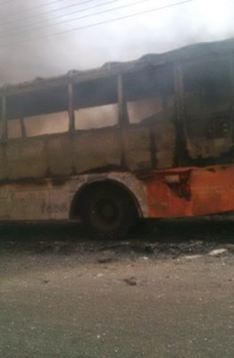 [PHOTO NEWS] BRT Bus Engulfed by Fire Around Adeniji Bus-Stop, Lagos