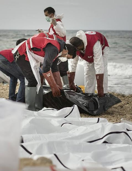[PHOTOS] Bodies of 74 Europe-bound African migrants wash ashore in Libya