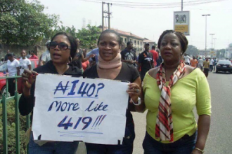 [PHOTO NEWS] #Hypocritical Lauretta #Onochie,#Buhari's Social Media Aide spotted #PROTESTING 5 years ago