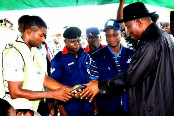President Jonathan gets accredited for Guber Election in Otuoke, Bayelsa