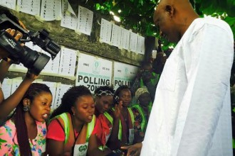 Jimi Agbaje gets accredited at his polling unit in Lagos
