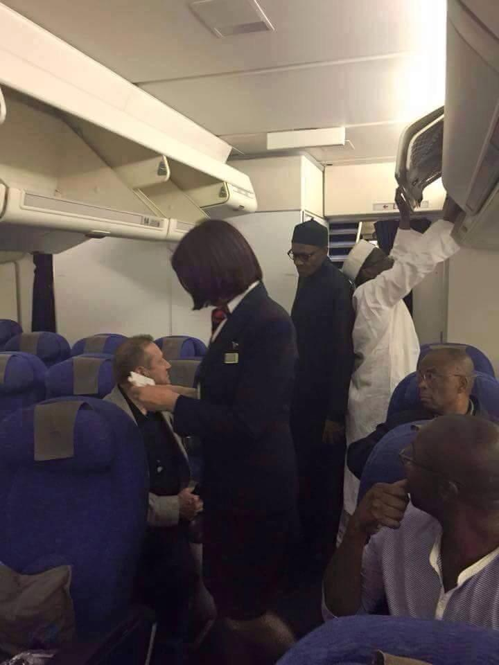 [EXCLUSIVE PHOTO] Buhari boards British Air enroute Abuja expected to land around 4am,with Shagari aboard