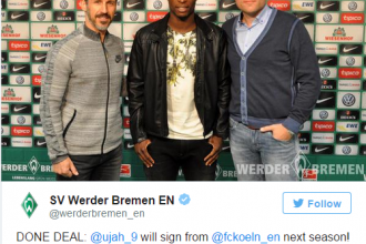 Nigerian Football Star Anthony Ujah joins Werder Bremen