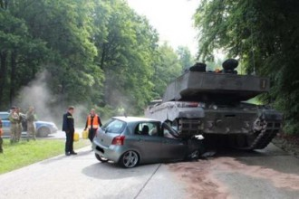 British army tank crushes learner's car in Germany
