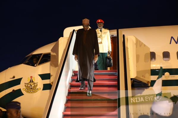 [PHOTO NEWS] Buhari Arrives Nigeria After Attending AU Summit in South Africa