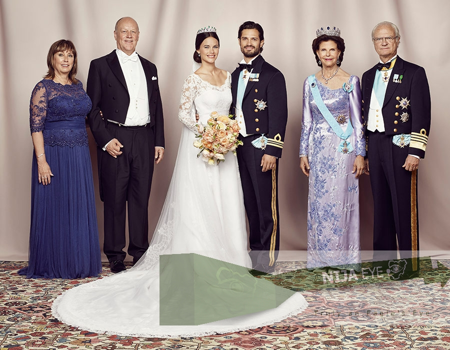 Sofia's mother and father Marie and Erik Hellqvist join Sweden's monarch King Carl XVI Gustaf and his wife Queen Silva