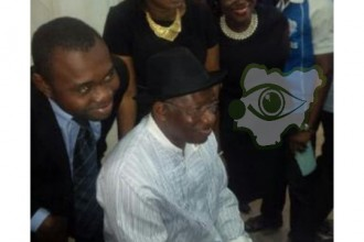 Former President Jonathan at First Bank branch for his BVN
