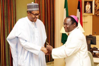 [PHOTO NEWS] President Buhari and Catholic Bishop of Sokoto Diocese,Bishop Kukah in a Closed Door Meeting
