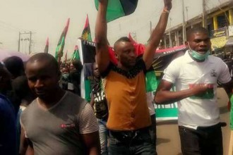 [PHOTO NEWS] #Biafrans #IPOB supporters hold peaceful protest in #Lagos