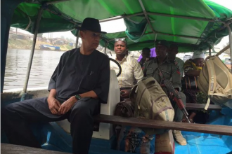 [PHOTO NEWS] Senator Ben Murray-Bruce goes to vote in his constituency on Boat -#BAYELSADECIDES