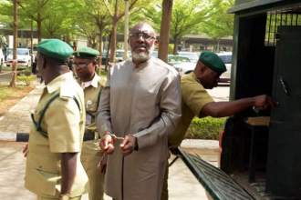 [VIDEO] Olisa Metuh appears in Court with Handcuffs,PDP reacts