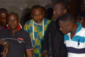 [VIDEO] #IPOB Leader Nnamdi Kanu appears in Court,questions Prison Warder-#BRAVE