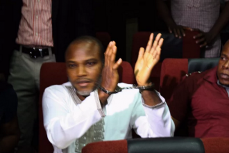 [PHOTO NEWS] #IPOB Leader #Kanu appears in court,refuses to let his handcuff be removed-#BIAFRA