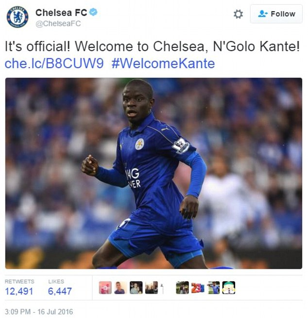 [IT IS OFFICIAL] Chelsea signs Kante from Leicester City for £30m