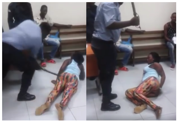[VIDEO] Police Officer flogs a Lady in Equatorial Guinea (HUMAN RIGHT ABUSE)