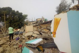 [BREAKING] Kaduna State APC Secretariat demolished (PHOTOS)