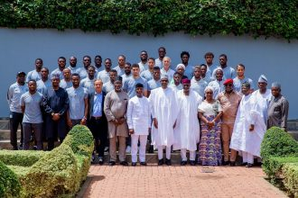 Buhari meets the Super Eagles,urges them to make Nigeria proud in Russia