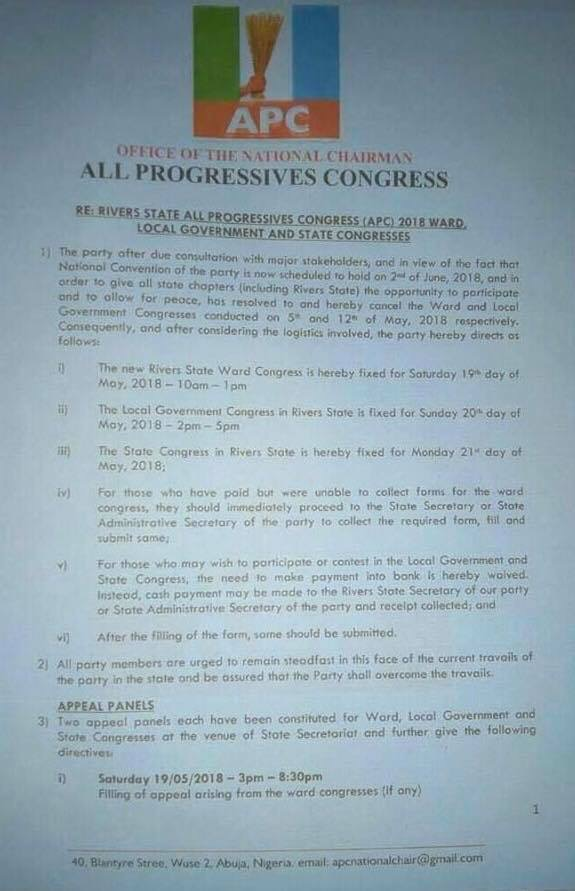 APC cancels Ward, LG congresses in Rivers State