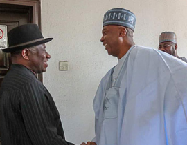 """If not for your """"STRONG"""" Leadership, NASS would have collapsed - Jonathan tells Saraki-"""