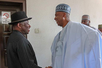 "If not for your ""STRONG"" Leadership, NASS would have collapsed - Jonathan tells Saraki-"