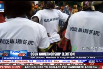 Saraki, Dogara, Secondus, others protest Osun election result at INEC (VIDEO)