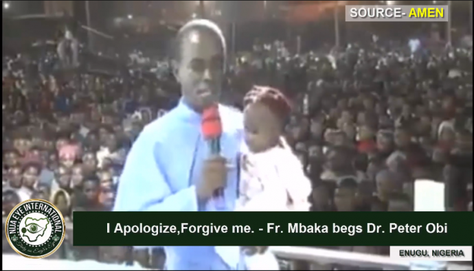 Fr. Mbaka publicly apologises to Peter Obi, begs for forgiveness (VIDEO)