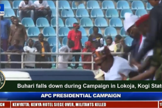#Buhari falls down during #Campaign in #Lokoja, #Kogi State