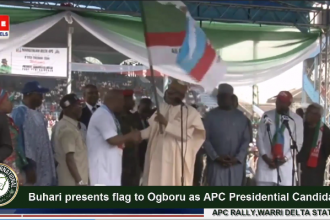 #Buhari presents flag to Great #Ogboru as #APC #Presidential Candidate at the APC Rally in #Warri #Delta State