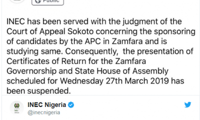 #INEC suspends issuance of certificates to #Zamfara #APC candidates
