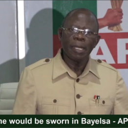 [VIDEO] After tomorrow, #Bayelsa would be without Governor - Oshiomhole #APC Chairman