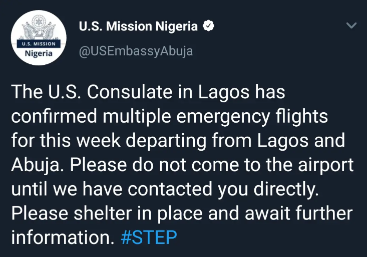 [BREAKING] #US joins #France, #Germany, #Israel to evacuation of citizens from #Nigeria